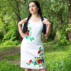 Белое атласное платье с вышивкой, фото 3