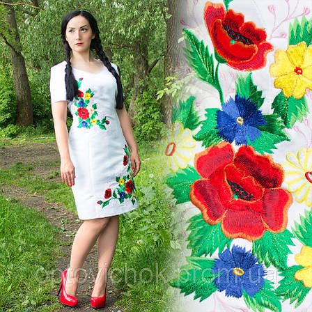 Белое атласное платье с вышивкой, фото 2