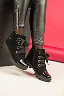 Женские ботинки Б-16 на каблуке из замши