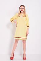 Женское желтое льняное платье прямого покроя