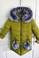 """Детское зимнее пальто """"Нора-2"""", для девочек. Товар со скидкой. Куртка зимняя"""