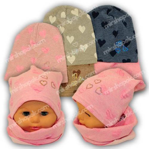 Детские шапки из трикотажа с хомутом для девочки, 865H