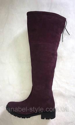 Сапоги женские высокие из натуральной замши низкий ход Код 907, фото 2