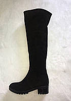 Сапоги женские высокие из натуральной замши черные