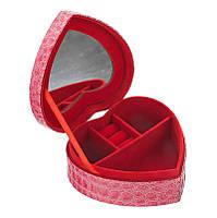 Шкатулка для украшений в виде сердца. Розовая