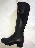 Сапоги женские высокие из натуральной кожи с замшевыми вставками черные
