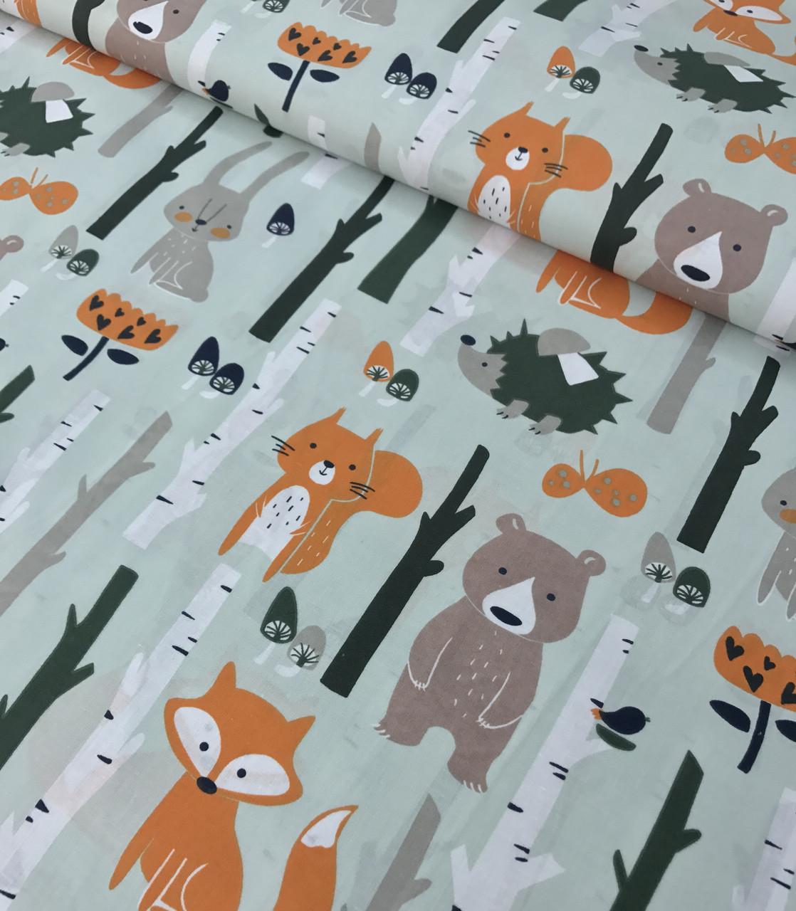 77762fc539a25 Хлопковая ткань польская лисички, мишки в лесу на мятном №559 от ...