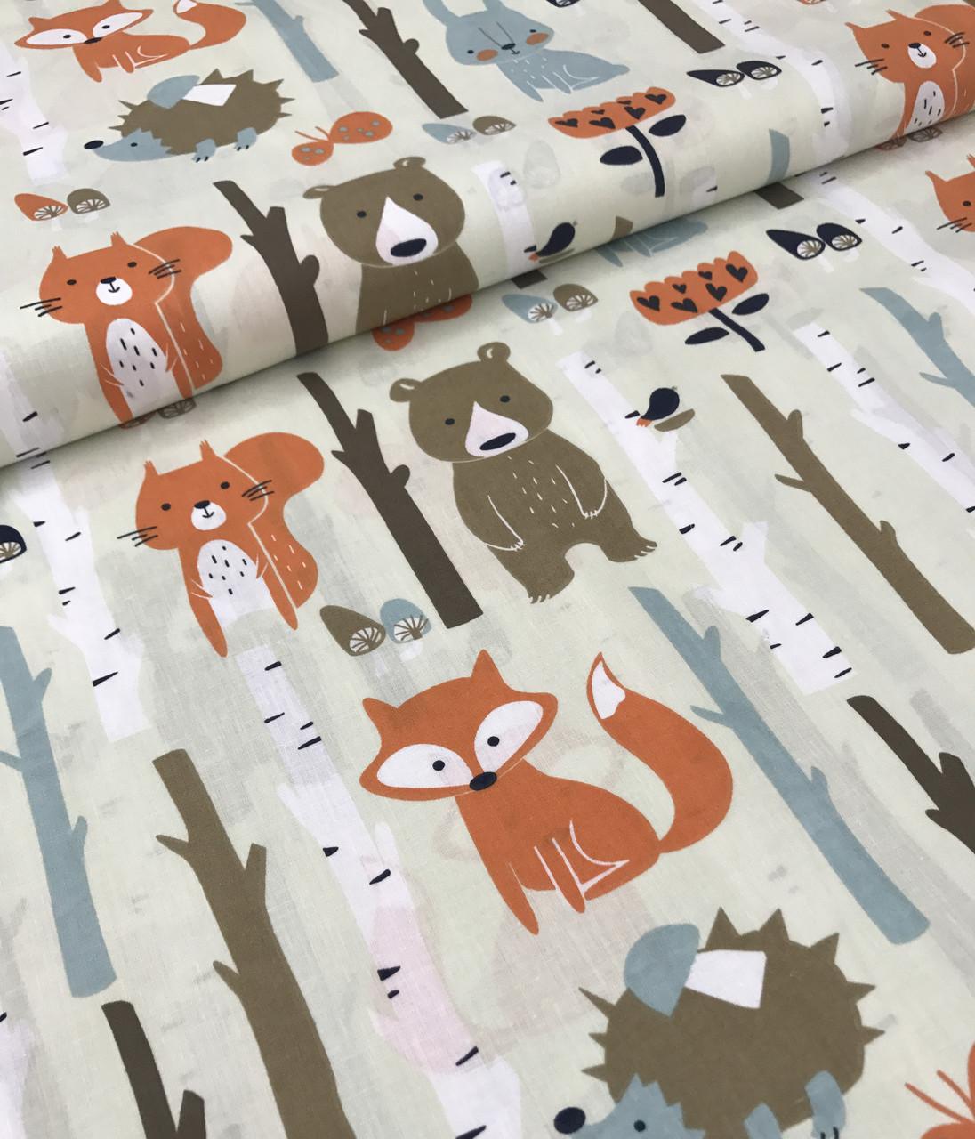 Хлопковая ткань польская лисички, мишки в лесу на бежевом №542