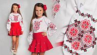 Вышиванка для девочки с геометрическим орнаментом, вышивка красно-черная, фото 1