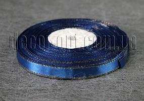 Лента атласная с люрексом синяя 1,0 см 36ярд 38