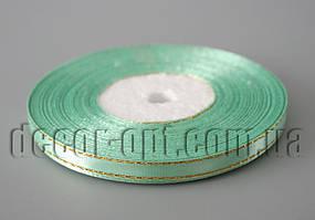 Лента атласная светло-бирюзовая с золотым люрексом 0,6 см 36ярд 128