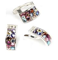 """Гарнитур """"Кобра стр"""" с кристаллами Swarovski, покрытый серебром (a3831270) (В наличии только кольцо 17 размер)"""