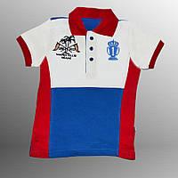 Детская футболка поло (Красный с голубым)