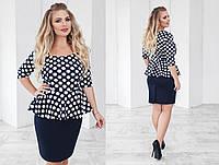 Платье больших размеров с баской 48+ арт 55828-93