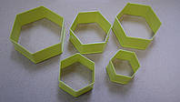 Набор вырубок шестиугольник 5шт. (код 03026)