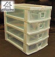 Мини-комод пластиковый для мелочей Senyayla на 4 ящика (мятный)