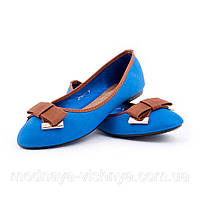 Женские голубые балетки с узким носком