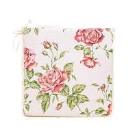 """Подушка на стул  """"large pink Rose""""с кружевом 40х40 см"""