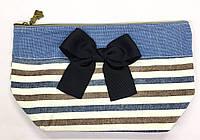 Полосатая косметичка Beads Garden с джинсовой вставкой и черным атласным бантом