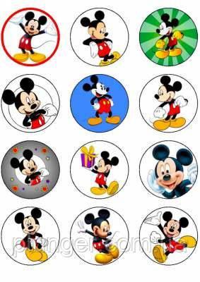 """Вафельная картинка для кексиков, маффинов, капкейков """"Микки Маус"""", (лист А4, толщина 0.3 мм)"""