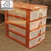 Пластиковый мини-комод для мелочей Senyayla на 4 ящика (коричневый)