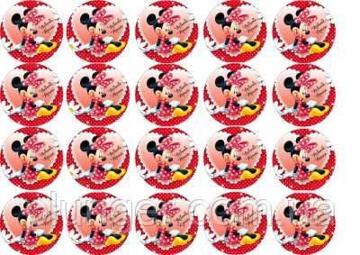 """Вафельная картинка для кексиков, маффинов, капкейков """"Минни Маус"""", (лист А4, толщина 0.3 мм)"""