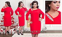 Женское Платье №2-166 нарядное больших размеров украшено камнями красное