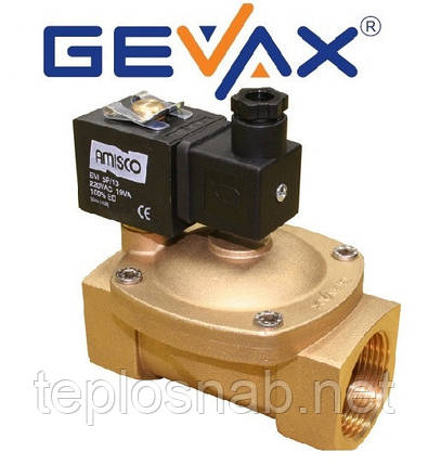 """Электромагнитный клапан 1 1/2"""" EPDM 220 B нормально закрытый GEVAX (Турция), фото 2"""