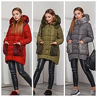 Женская куртка с меховыми карманами | Молодежный пуховик