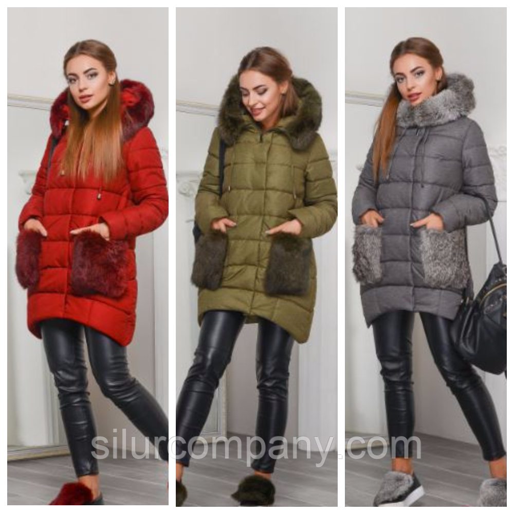 Женская куртка с меховыми карманами  b07b63880aa95