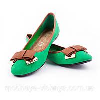 Женские зеленые балетки с узким носком