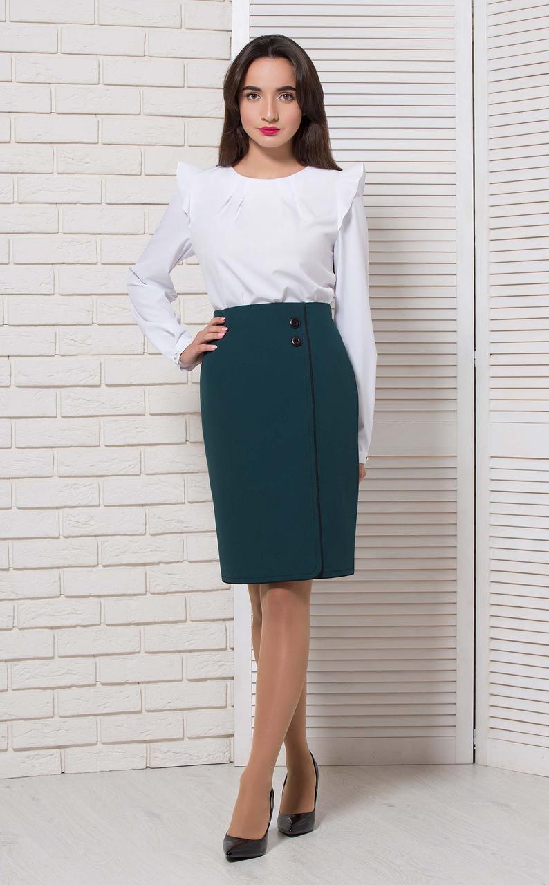 Блуза с рюшкой базовая белая Modna KAZKA  8799-2