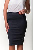 Деловая женская юбка карандаш серого цвета трикотажная