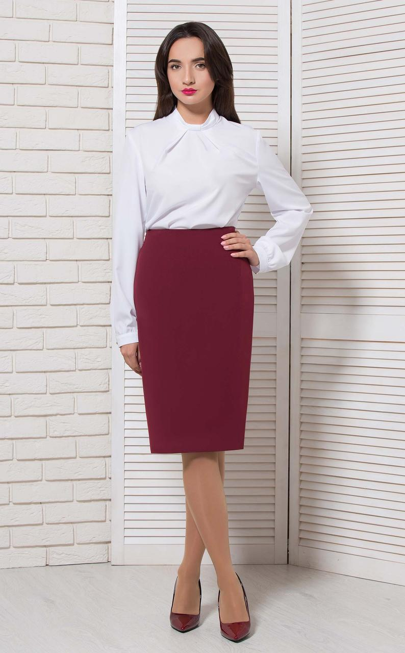 Блуза классика на стойку белая Modna KAZKA
