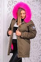 Женская зимняя куртка-парка с натураьным мехом (песец)