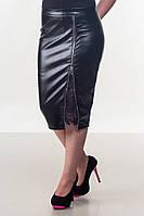Женская черная юбка из экокожи, фото 1
