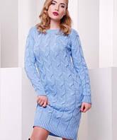 Женское вязаное платье косой (короткое Lilu fup)