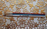 Набор из 3-х кистей, синтетика 0,00,000, для росписи ногтей и различной тонкой ручной росписи,цвет ручек синий