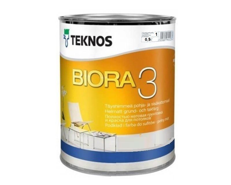 Краска акриловая TEKNOS BIORA 3 для потолков белая (база 1) 0,9л