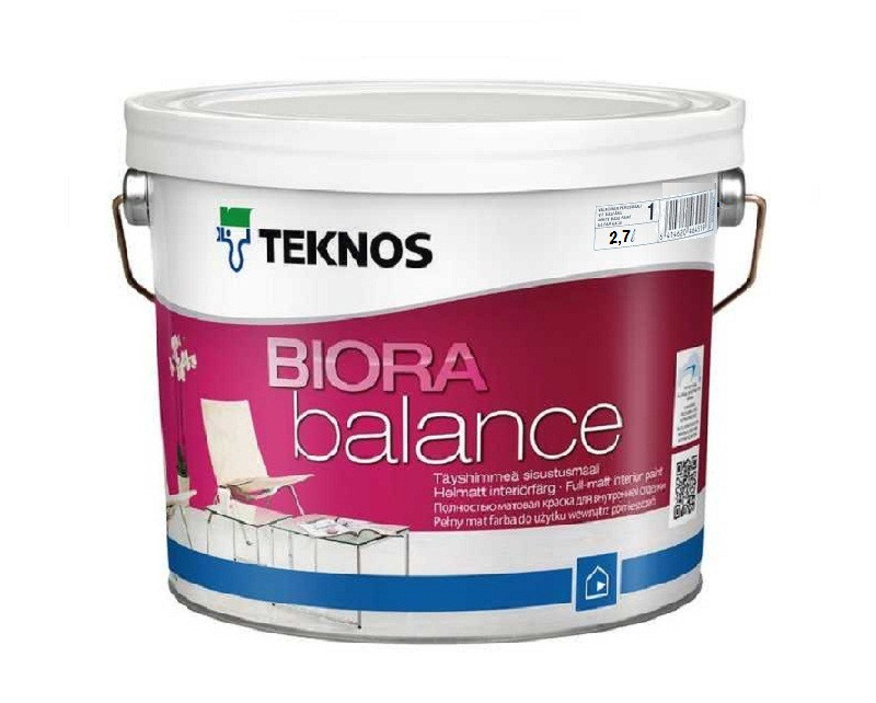 Краска акриловая  TEKNOS BIORA  BALANCE интерьерная белая (база 1) 2,7л