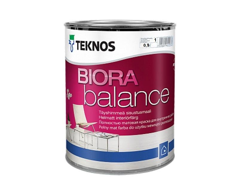 Краска акриловая  TEKNOS BIORA  BALANCE интерьерная белая (база 1) 0,9л