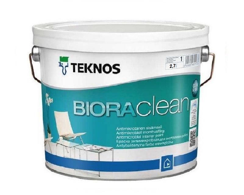 Краска акриловая TEKNOS BIORA CLEAN антимикробная белая (база 1) 2,7л