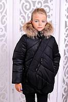 Детская модная куртка для девочки с натуральным мехом | Зима 2017