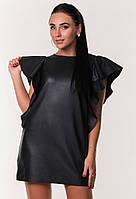 Платье молодежное с экокожи ZANNA BREND 7395 S,M (44,46) черный