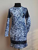 Оригинальное платье для девочки синего цвета с эко-кожей