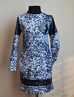 Оригинальное платье для девочки синего цвета с эко-кожей, фото 1
