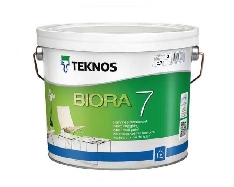 Краска акриловая TEKNOS BIORA 7 интерьерная транспарентная (база 3) 2,7л