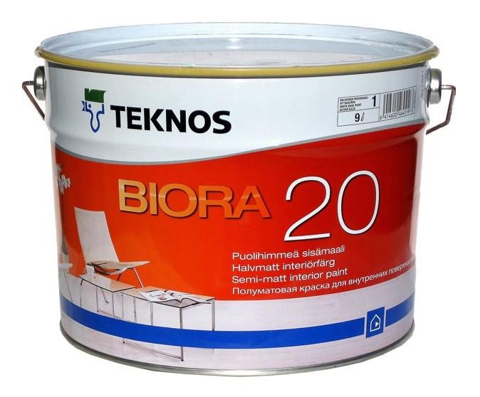 Краска акриловая TEKNOS BIORA 20 интерьерная белая (база 1) 9л