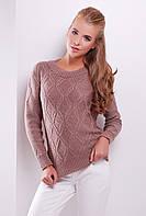 Стильный женский фактурный вязаный свитер однотонный фрез