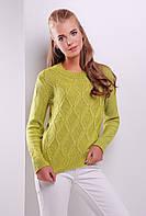 Стильный женский фактурный вязаный свитер однотонный фисташка